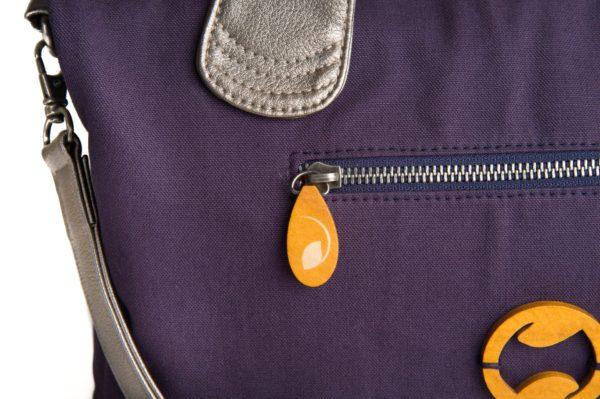 eco friendly handbag with metallic vegan leather