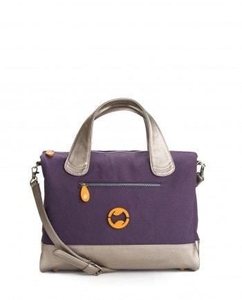 crossbody satchel in purple and metallic