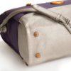 vegan designer handbag with purple organic cotton, cruelty free