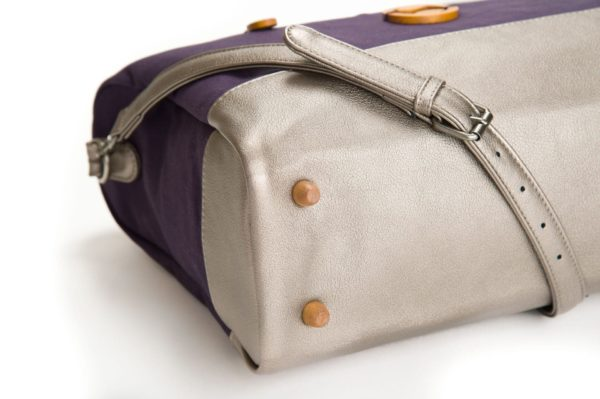 vegan designer handbag with purple organic cotton, cruelty free