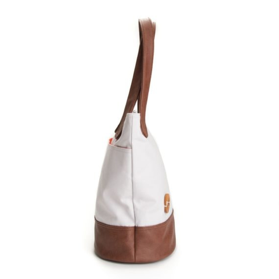 organic cotton tote with wood details