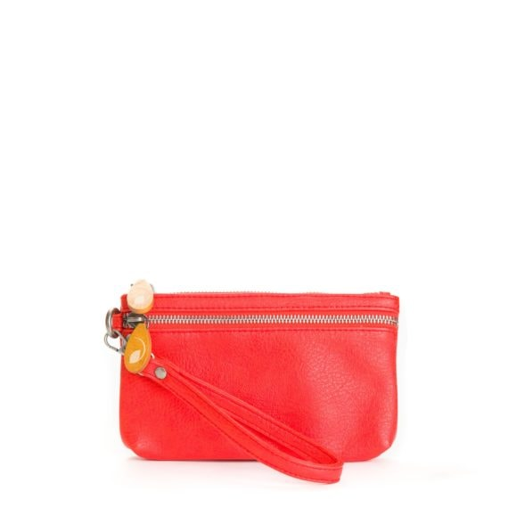 red phone wristlet in vegan leather