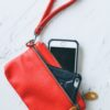 iphone wristlet and wallet in red vegan leather