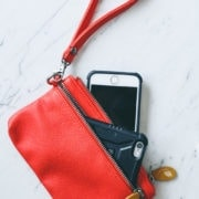 red iphone wristlet, red wallet