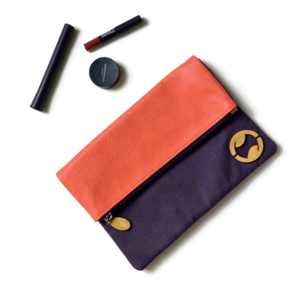 vegan clutch with organic cotton canvas