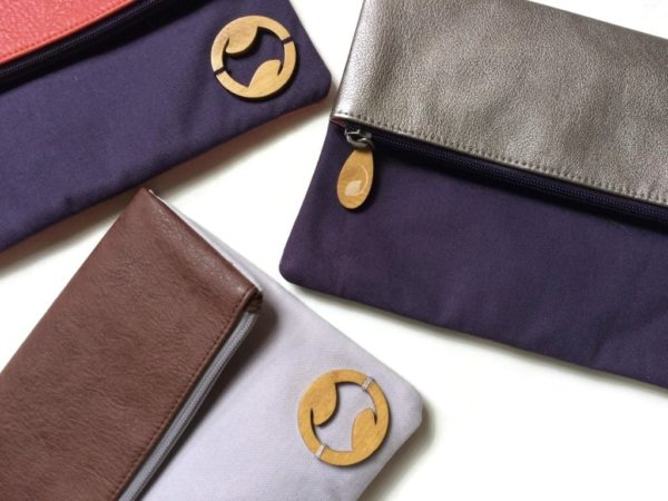vegan leather purses and handbags, in purple and gray