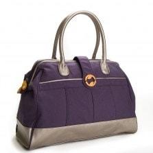 purple canvas weekender bag with metallic vegan leather | @canopyverde