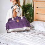 canvas weekender bag in purple organic cotton