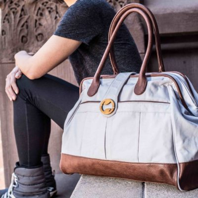 womens canvas weekender bag and travel bag in gray