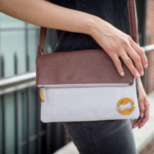 vegan crossbody bag in gray organic cotton