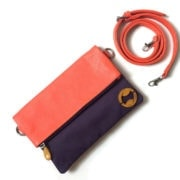 foldover crossbody in organic cotton and cruelty free leather