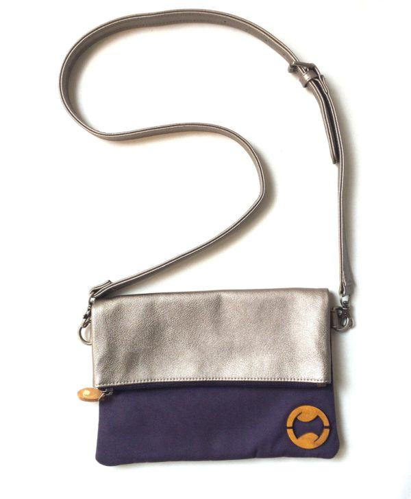 canvas crossbody bag & faux leather purse