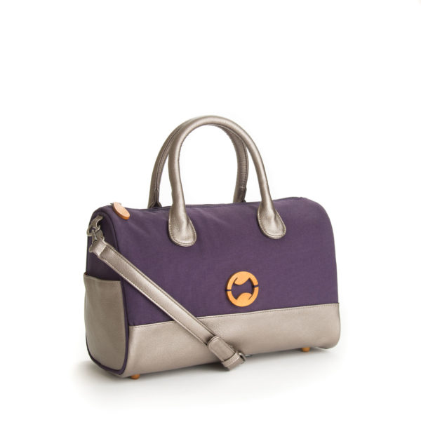 canvas crossbody bag with vegan leather & purple organic cotton