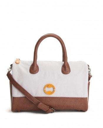 vegan shoulder bag in gray and brown