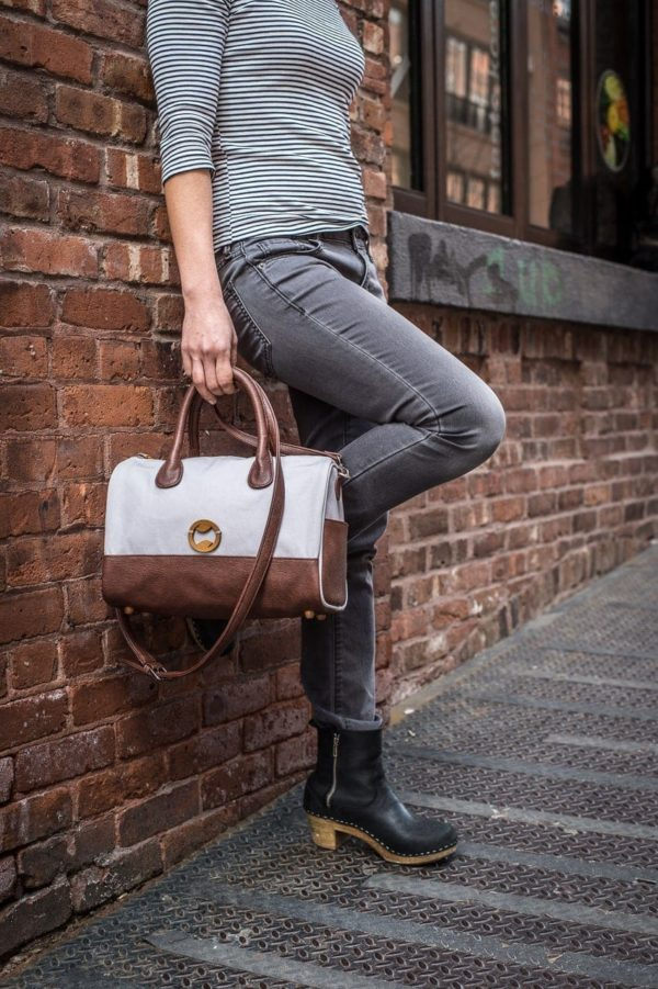gray vegan purse and canvas crossbody bag