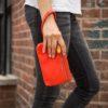 vegan wristlet and clutch purse, orange red vegan leather
