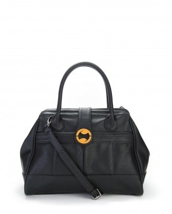 vegan leather satchel in black