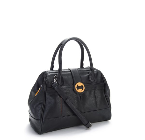faux leather bag and black doctor's bag purse