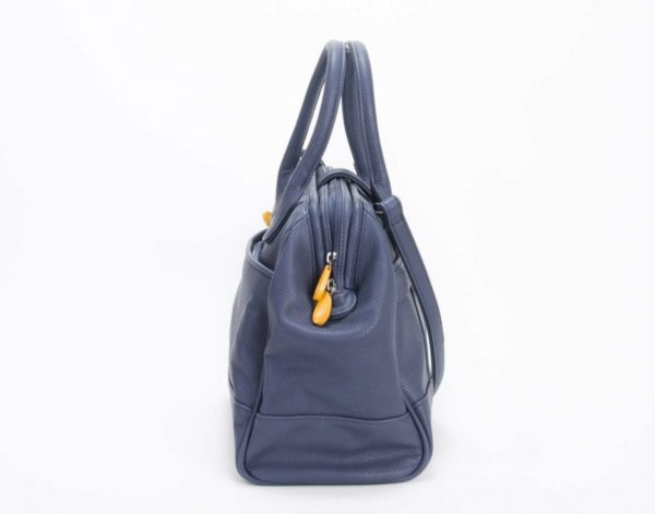 vegan leather satchel & crossbody purse in navy gray