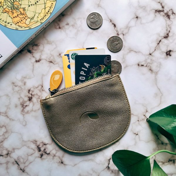 vegan purse and coin pouch in gold metallic