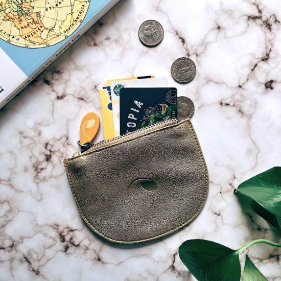 vegan purse and mini pouch in gold metallic