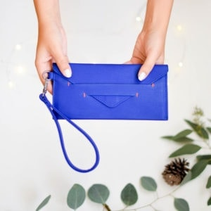vegan wallet in royal blue