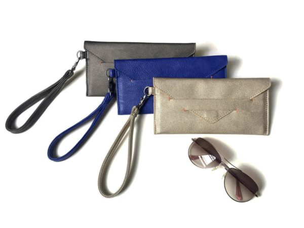 envelope wallet with wristlet strap