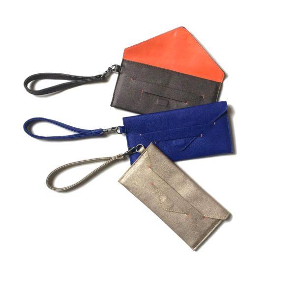 minimalist wallet and vegan purse in envelope design, cruelty free