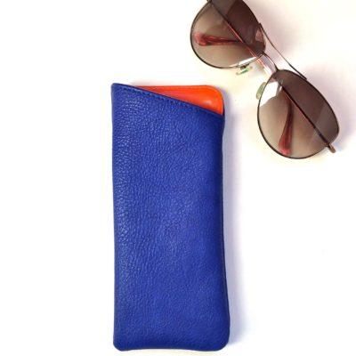 blue sunglass holder in vegan leather