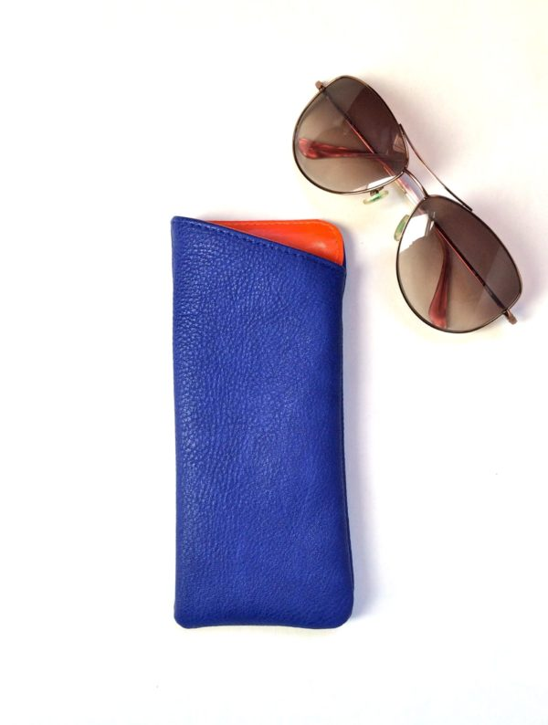 blue sunglass holder in vegan leather