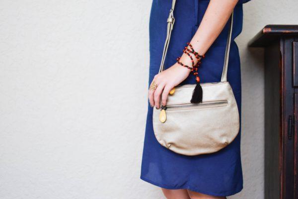 vegan leather crossbody purse in metallic gold