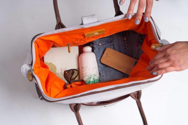 organic cotton weekender bag with vegan leather