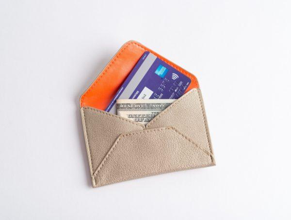 vegan leather wallet, gold metallic