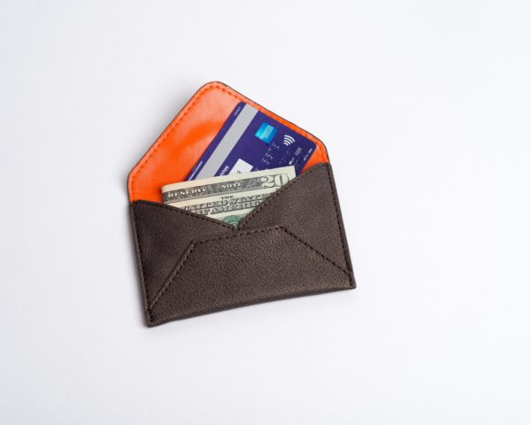 credit card case, cruelty free, in black metallic vegan leather