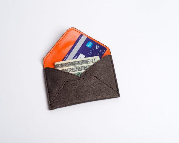 credit card case, cruelty free, in black metallic vegan leather