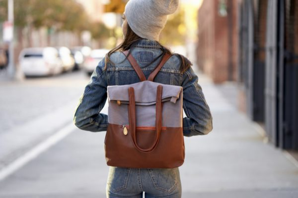 gray canvas backpack with vegan leather