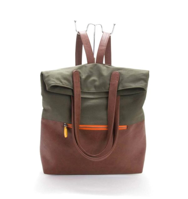 convertible vegan backpack with organic cotton and cruelty-free vegan leather