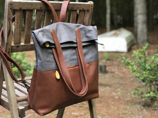 backpack purse in gray cotton canvas and brown vegan leather