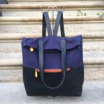 navy backpack purse, vegan leather, organic cotton