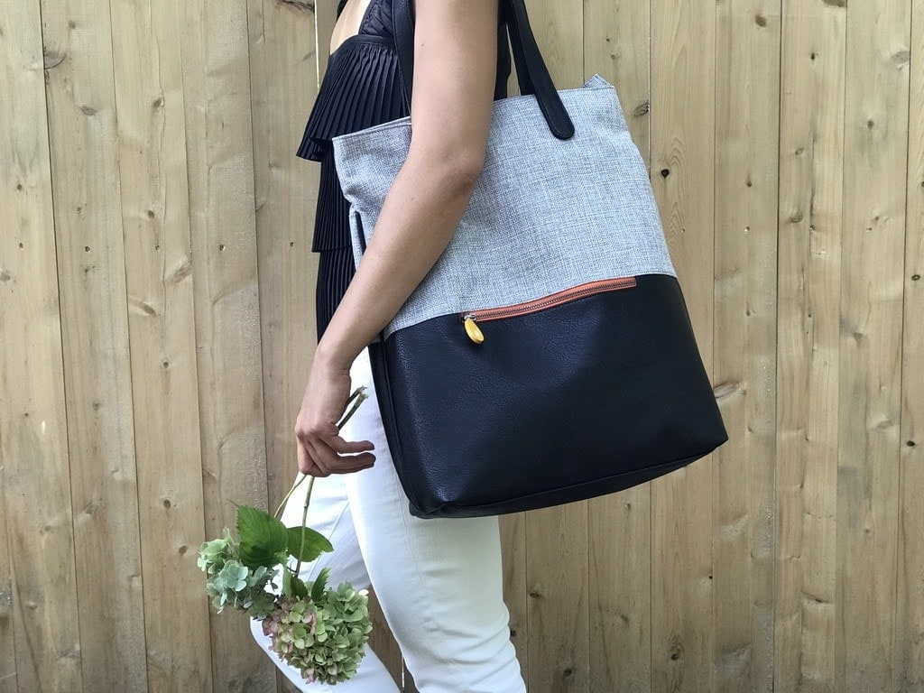 vegan backpack tote in tweed and black vegan leather