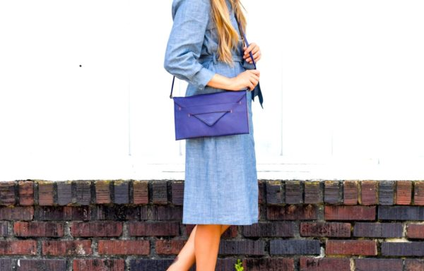 evening clutch in royal blue vegan leather