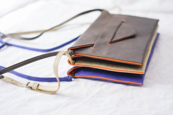 crossbody wallet and vegan clutch