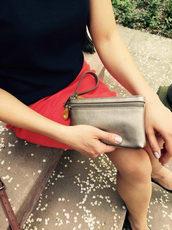 metallic phone wristlet and vegan purse