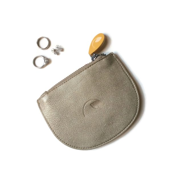 zipper coin pouch and jewelry pouch in cruelty free vegan leather