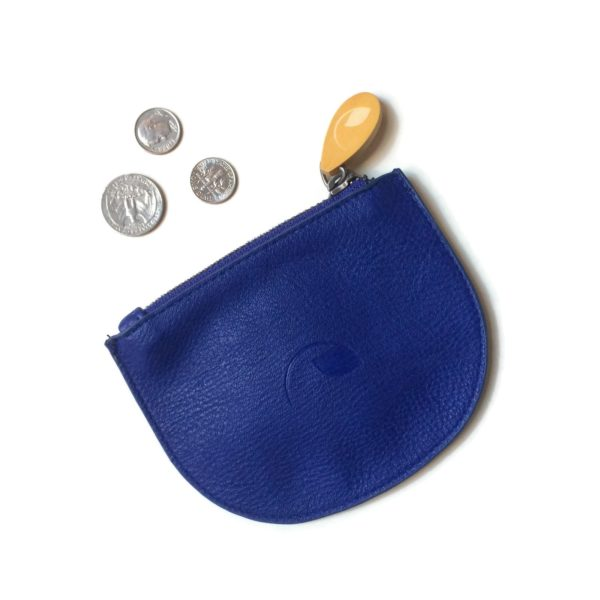 vegan leather purse and zippered pouch in blue vegan leather