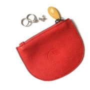 red vegan leather coin purse
