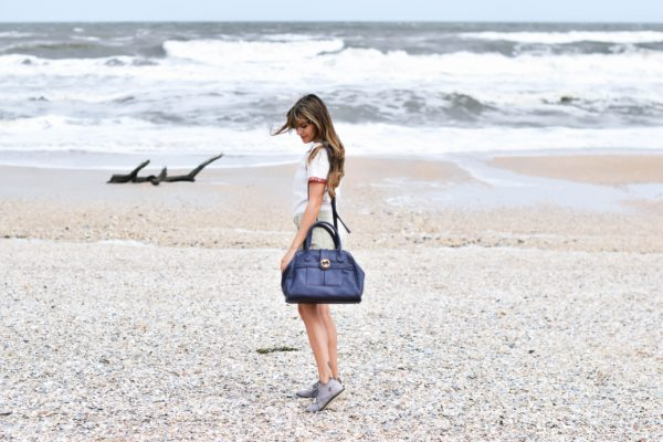 vegan leather purse and crossbody bag in navy gray