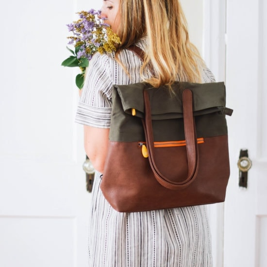 convertible backpack with vegan leather & organic cotton
