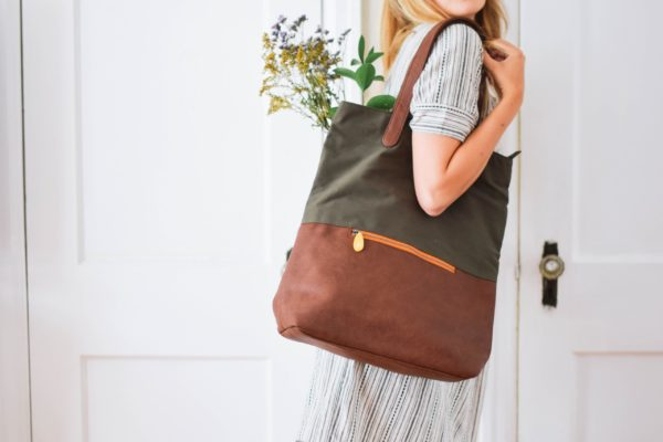 convertible backpack tote in olive green