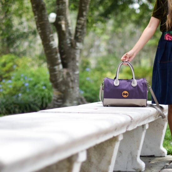 eco friendly purse with organic cotton and purple vegan leather